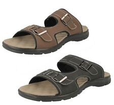 SMART SECRET MENS SUMMER SLIP ON MULE BLACK & BROWN SANDALS L5011