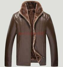 Fashion Mens faux leather fur collar zipper up fur lined coat jacket outwear #