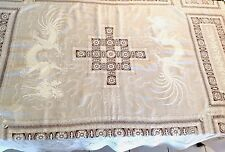 """Vintage Chinese White Pina Linen Hand Embroidered TableCloth Bedcover 88x75"""""""