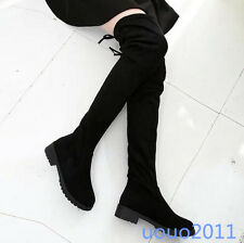 Winter Womens Flat Over Knee High Boots Lace Up Low Heel Faux Suede Casual Shoes