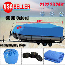 14ft to 24ft Trailerable Boat Cover Waterproof V-Hull Suqare Heavy Duty 600D L8