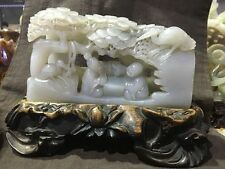 Chinese exquisite natural Hetian jade Hand carving character statue