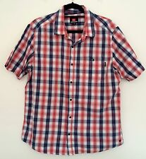 QUIKSILVER Mens Blue Red Check Plaid Short Sleeve Casual Dress Shirt Size L