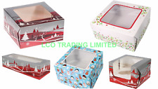 "5 X Christmas Cake Box 6"", 8"", 10"" Single & 6 Cupcake Boxes Mince Pie Pack of 5"