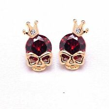 Women Cute 18k Yellow Gold Filled Cubic Zircon Skull Pierced Stud Party Earrings