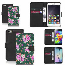 pu leather wallet case for many Mobile phones - traditional flower