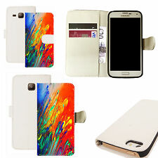 pu leather wallet case for majority Mobile phones - colourful artistic white