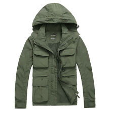Military Mesh Jacket Detachable Waistcoat Vest Hooded Parka Fishing Travel Vest