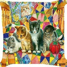 Cats kittens play patch cloth needle work measure tape kitty cushion Cover 18""