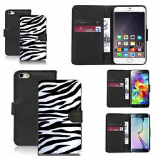 pu leather wallet case for many Mobile phones - zebra