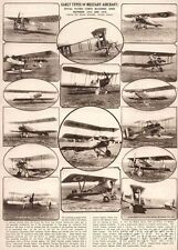 1939 Vintage Print Early 1914-1918 types Airplanes Military Aircraft