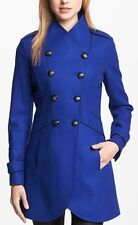 GUESS winter coat Jacket Double Breasted Military peacoat cobalt blue LARGE OBO