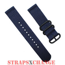 PREMIUM PVD ZULU® 2 Piece NAVY BLUE Military Divers watch strap band Nylon 3Ring