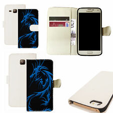 pu leather wallet case for majority Mobile phones - blue dragon white