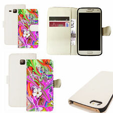 pu leather wallet case for majority Mobile phones - passionate floral white