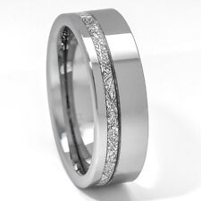 Meteorite Ring 8mm Tungsten Carbide Comfort Fit Mens Wedding Band