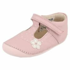 CLARKS INFANT PREWALKERS GIRLS LITTLE LINZI RIPTAPE STRAP SHOES IN E,F,G,H FIT