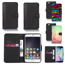 black pu leather wallet case cover for many mobiles design ref q690