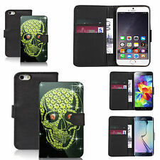 pu leather wallet case for many Mobile phones - yellow star skull