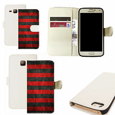 pu leather wallet case for majority Mobile phones - red groove white