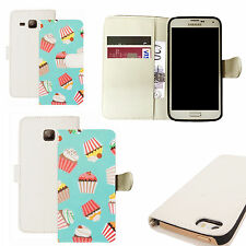 pu leather wallet case for majority Mobile phones - blue cupcake white