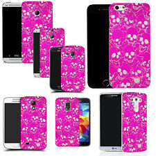 gel case cover for many mobiles - pink multi skull silicone
