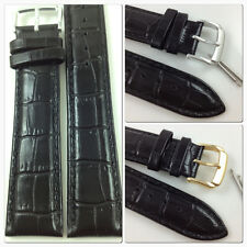 HQ XL 12~28 MM BLACK GLOSSY ITALY CROC GRAIN LEATHER WATCH BAND LENGTHENED STRAP