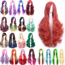 Real Synthetic Quality Heat Resistant Anime Cosplay Wig Long Hair Full Wigs UK #