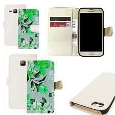 pu leather wallet case for majority Mobile phones - heaping floral white