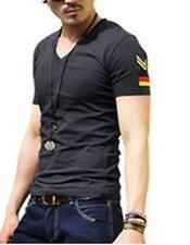 New Mens Slim Fit V-Neck Long Sleeves T Shirt Fashion Special Troops Basic Shirt