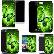 gel case cover for many mobiles  - green twirl butterfly silicone