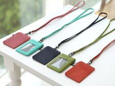 Genuine Leather Oyster bus Neck Strap Badge Id Holder Pass Lanyard Card Wallet