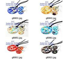 g808m90 Charm Peace Sign Bead Murano Lampwork Glass Pendant Necklace Earring set