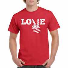 T Shirt Love and Peace S Music Tee Funny Unisex Sleeve Hand Top Gift Juniors Men