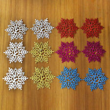 12pcs/Pack Plastic Glitter Snowflakes Xmas Tree Christmas Party Home Decoration
