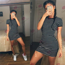 Women O-Neck Short Sleeve Striped Dress Casual Bodycon Party Evening Mini Dress