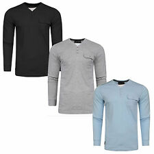Mens Long Sleeved T Shirt Dissident 'Whyer' Cotton Casual Y Neck New S-XXL
