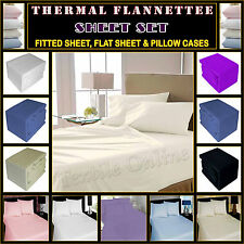 Flannelette Sheet Set 100% Brushed Cotton Fitted, Flat Sheet and Pillow Case Set