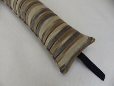 Fabric Draught Exclude Brown Grey Snake Stripe  Buckwheat filled to 36