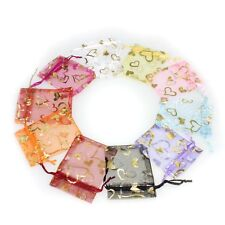 100 Pcs Jewelry Gift Bag Mixed Color Organza Wedding Pouch Bronzing F17305
