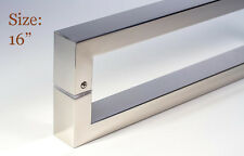 """Door Pull Handle Modern Square Long Entry Stainless Steel Polished Chrome - 16"""""""