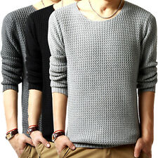 Mens Fashion Crew Neck Slim Long Sleeve Knit Cardigan Pullover Jumper Sweater