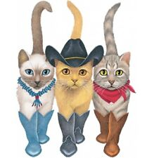 Cowboy Cats Shirt, 3 Cute Country Kitties in Cowboy ~ Cowgirl Boots, Small - 5X