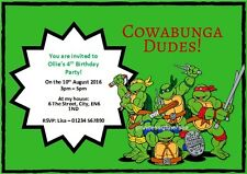 10 x Teenage Mutant Ninja Turtles Birthday Party Invitations / Thank You / Blank