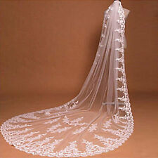 Wedding Veil One-tier Cathedral Veils Lace Applique Edge Tulle White Ivory