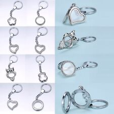 DIY Magnetic Round Keyring Crystal Glass Locket Key Chain For Floating Charms
