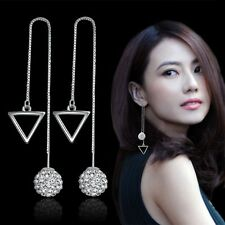Women 925 Sterling Silver Crystal Ball Triangle Square Rhombus Ear Stud Earrings