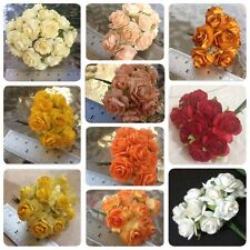 50 Artificial Mulberry Paper flowers Handmade Scrap-booking Tiny Rose 18 mm #C