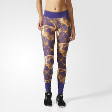 Adidas Super Womens Purple Climalite Long Running Gym Tights Bottoms Pants