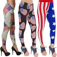 LADIES STARS STRIPES & SAFETY PINS HEARTS LEGGINGS  GOTH  ALTERNATIVE SIZE 6 -18